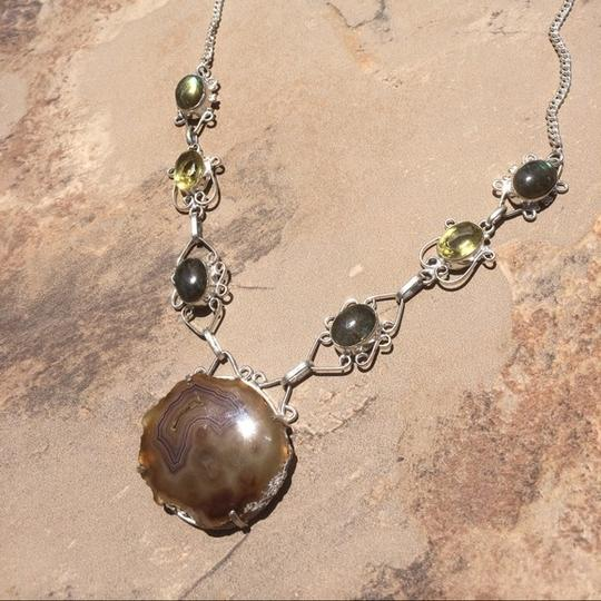 Other Handmade Labradorite, Citrine, Moss Agate & Sterling Silver Necklace Image 3