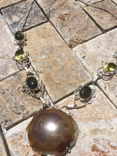 Other Handmade Labradorite, Citrine, Moss Agate & Sterling Silver Necklace Image 4
