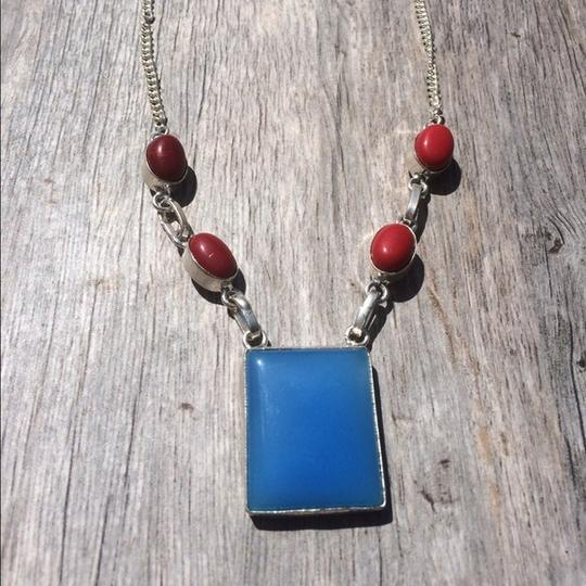 Handmade Handmade Blue Botswana Agate, Red Coral & Sterling Silver Necklace