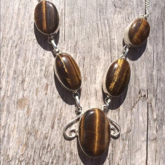 Handmade Handmade Gold Tigers Eye & Sterling Silver Necklace