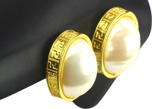 Fendi Fendi Chunky FF Monogram Pearl Clip-On Earrings
