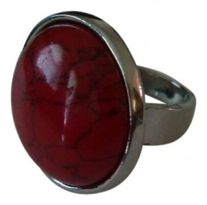 Other Red Dragon's Vein Turquoise Chunky Silver Ring size 9