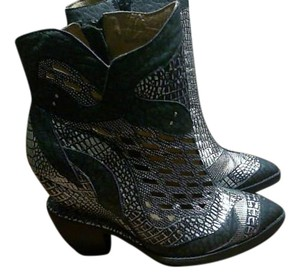 Jeffrey Campbell black and silver leather Boots
