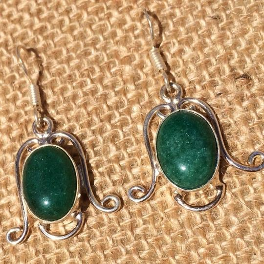 Handmade Handmade Green Jade & Sterling Silver Earrings