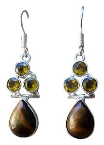 Handmade Tigers Eye, Yellow Topaz & Sterling Silver Earrings