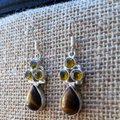 Other Handmade Tigers Eye, Yellow Topaz & Sterling Silver Earrings Image 1