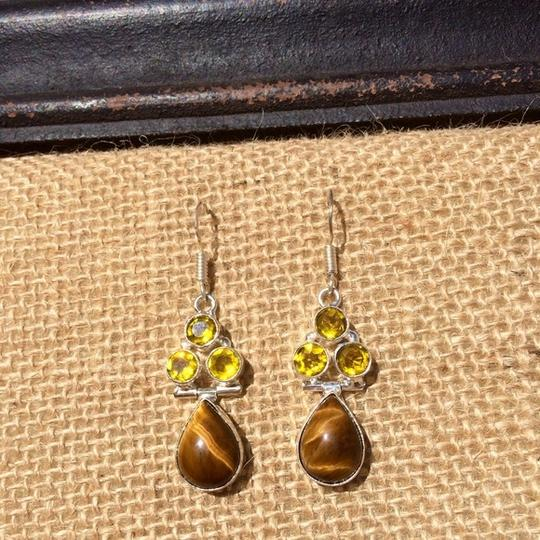 Other Handmade Tigers Eye, Yellow Topaz & Sterling Silver Earrings Image 2
