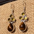 Other Handmade Tigers Eye, Yellow Topaz & Sterling Silver Earrings Image 3