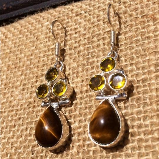 Other Handmade Tigers Eye, Yellow Topaz & Sterling Silver Earrings