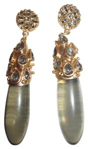 Lia Sophia Gold & Gray Statement Crystal Drop Dangle Earrings Signed
