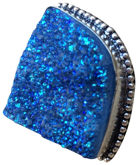 Other Handmade Huge Blue Druzy Agate & Sterling Silver Ring