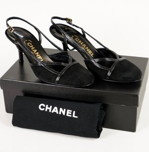 Chanel Comfortable Logo Leather Black Pumps
