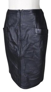 Krizia Soft Vintage Leather Skirt Black