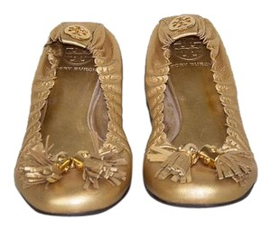 Tory Burch Signature Gold Leather with Tassels Flats