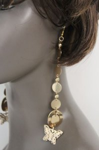 Other Women Earrings Set Gold Metal Chains Long Dangle Fashion Jewelry Butterfly Charm
