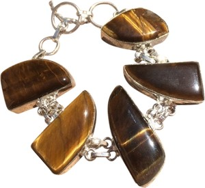 Other Tigers eye large stone cut silver bracelet