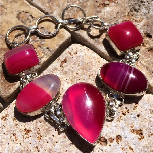 Other Pink Botswana agate sterling silver bracelet