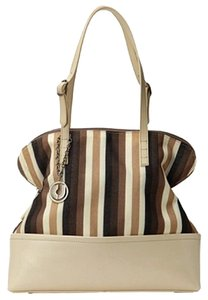 Charles Jourdan Canvas-leather Tote in Bone-Multi