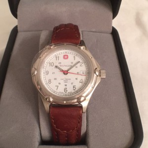 Wenger NEW! Women's Silver W/Leather Band