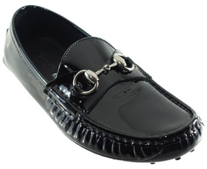 Gucci Horsebit Moccasin Leather 258200 Black Flats