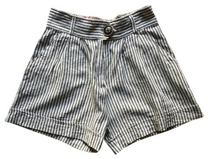 Modcloth Cuffed Shorts White/Gray Stripe
