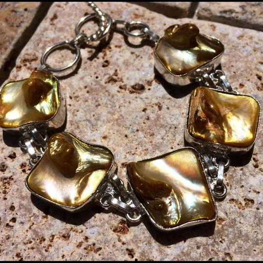 Other Yellow biwa shell sterling silver bracelet