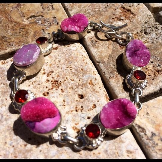 Other Pink agate druzy and red garnet silver bracelet