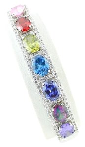 Other Oval shape 8x6mm Starburst cut Color CZs Bangle