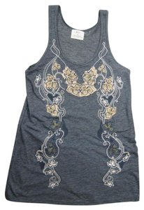 Pins and Kneedles Embroidered Gold Thread Top Blue, blue/gray