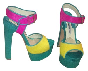 Brian Atwood Green, yellow, pink Platforms