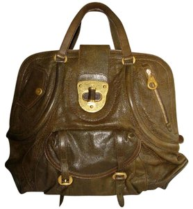 Alexander McQueen Leather Tote Green Satchel in Olive Green