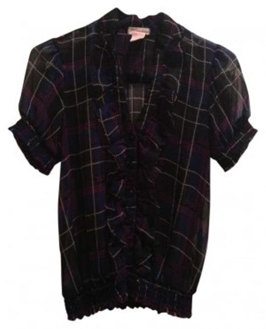 Preload https://img-static.tradesy.com/item/155733/one-clothing-black-and-blue-plaid-short-sleeve-ruffle-front-blouse-size-4-s-0-0-650-650.jpg