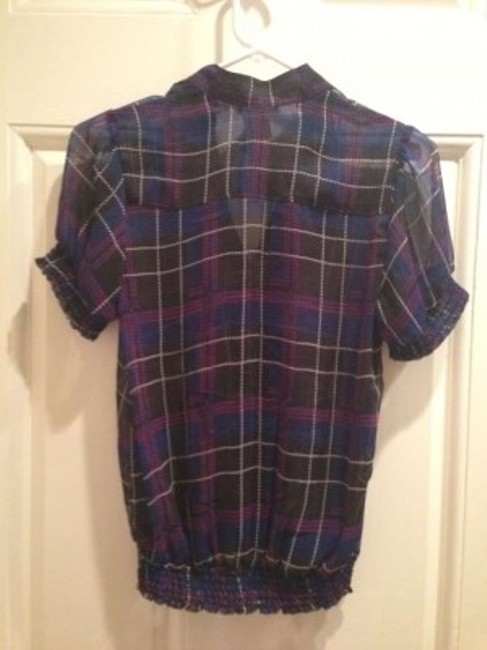 One Clothing Top Black and Blue Plaid