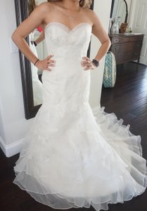 Watters Ivory Lace & Organza Cabo 4043b Formal Wedding Dress Size 6 (S)