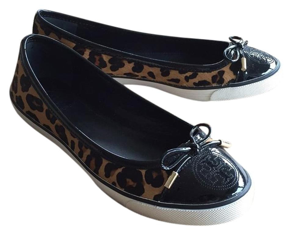 fa7162931282 Tory Burch Brown and Black Skyler Leopard Printed Calf Hair Sneaker Ballet  Flats