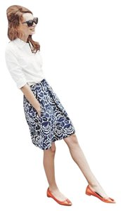 Boden Pleated Ponte Floral Skirt Navy