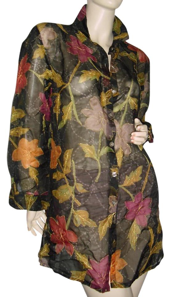 8ebad0c41c4 Chico s Black Floral Print Tunic Gold Edge Sheer Tunic Above Knee Short  Casual Dress Size 2 (XS) 59% off retail