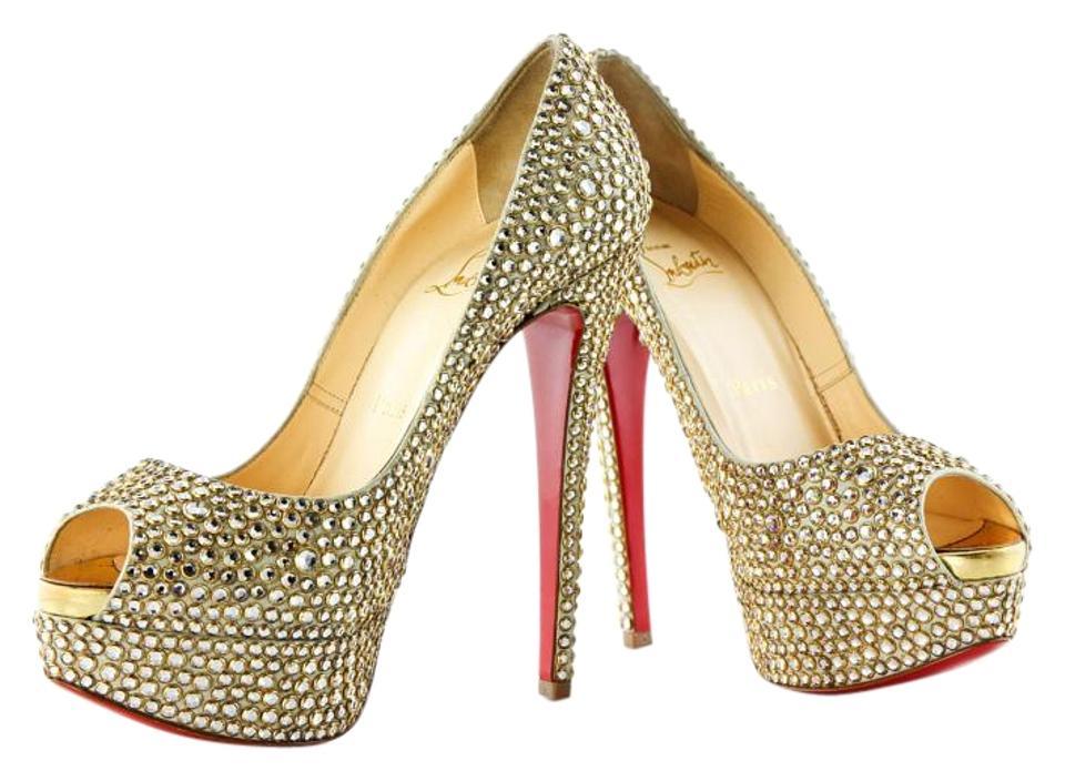 32f5fa110cd3 Christian Louboutin Ring Strass Specchio Toe Ring Strass Gold Pumps Image 0  ...