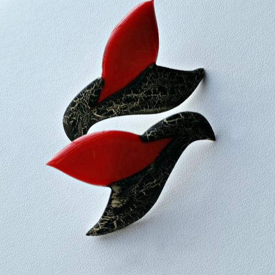 Other Vintage 80's Earrings - Black and Red Ceramic