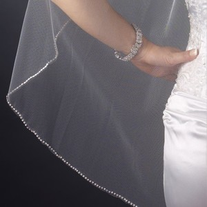 Elegance By Carbonneau Rhinestone Edge Fingertip Wedding Veil In Ivory