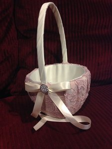 David's Bridal Ivory & Blush Silver Lace In And Flower Girl Basket