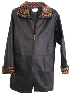 David Benjamin Retro Leather Animal Print Coat