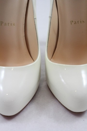 Christian Louboutin Feticha Leather Round Toe Patent Ivory Pumps