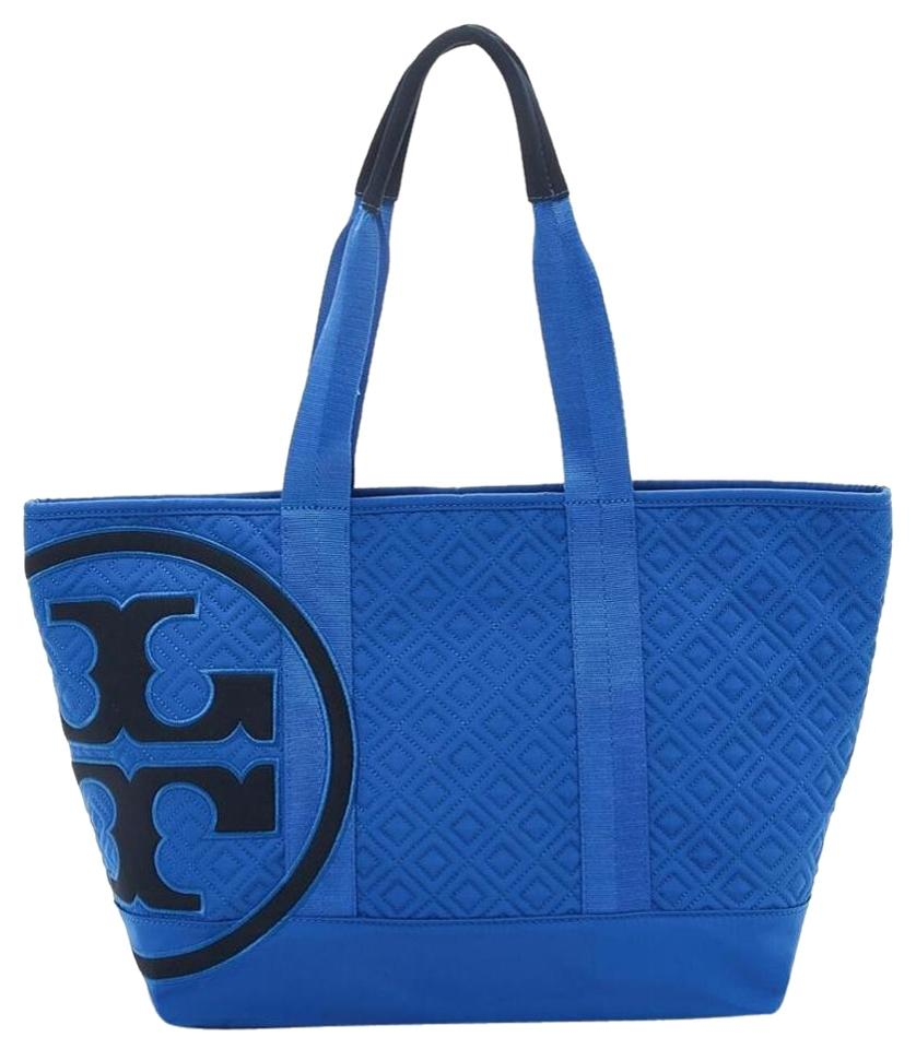 Tory Burch Penn Quilted Small Zip Tote Black Logo Blue Beach Bag ...