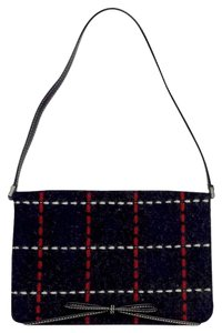 Kate Spade Small Navy Red & White Plaid Stitched Shoulder Bag