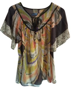 Anthropologie Cotton Silk Butterfly Sleeve Top Yellow Multi