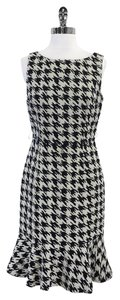 David Meister Black Grey Houndstooth Print Dress