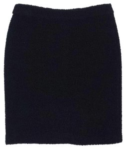 Armani Collezioni Black Textured Wool Blend Skirt