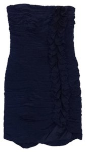 Shoshanna short dress Navy Tiered Strapless Bodycon on Tradesy
