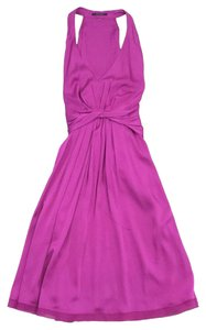 Elie Tahari Magenta V-neck Silk Blend Dress